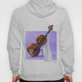 Still life with violin and white vases on a purple Hoody