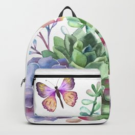 A Splendid Secret Succulent Garden With Butterfly Visitors Backpack