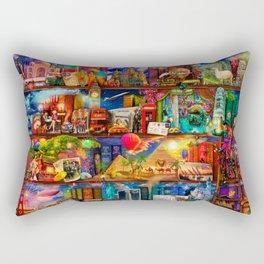 World Traveler Book Shelf Rectangular Pillow