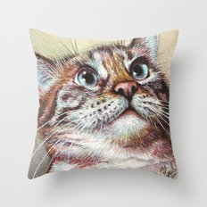 Cat Watercolor Throw Pillow