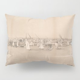 Vintage Pictorial View of Jersey City NJ (1866) Pillow Sham