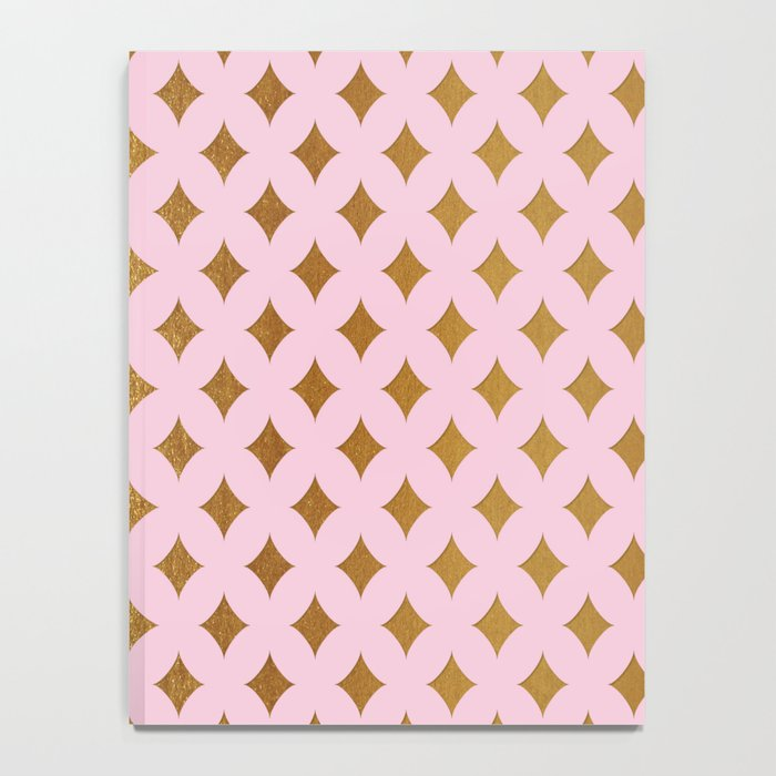 Queenlike- pink and gold elegant quatrefoil ornament pattern Notebook