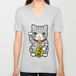 Japanese Good Luck Grey Gray Tabby Cat Maneki Neko  Unisex V-Neck
