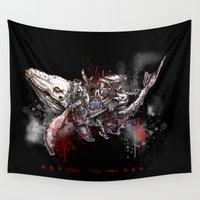dark side Wall Tapestries featuring Whale SOS- dark side by JoeyDrawing