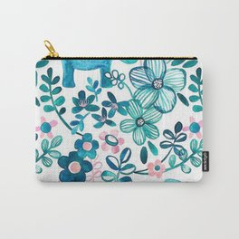 Blush Pink, White and Blue Elephant Carry-All Pouch