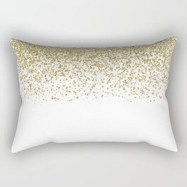 Sparkling gold glitter confetti on simple white background - Pattern Rectangular Pillow