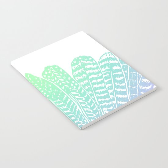 TRIBAL FEATHERS - SEAFOAM Notebook