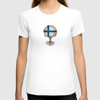 finland T-shirts featuring Vintage Tree of Life with Flag of Finland by Jeff Bartels