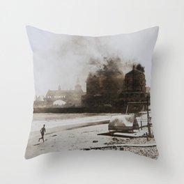 September 12, 1900 Fire at Narragansett Towers, Casino, & Rockingham Hotel Throw Pillow