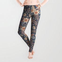 Slate Blue, Cream & Peach Floral Pattern - Pastel Flowers & Leaves Leggings