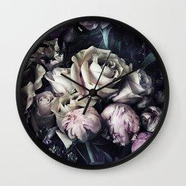 Roses peonies vintage style old masters flowers blooms Wall Clock