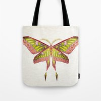 moth Tote Bags featuring moth by Manoou