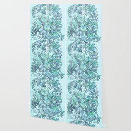 """Alphonse Mucha """"Printed textile design with hollyhocks in foreground"""" (edited blue) Wallpaper"""