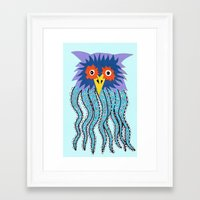 cthulu Framed Art Prints featuring the owl of cthulu by ronnie mcneil