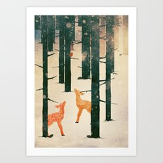 Winter Deer Art Print