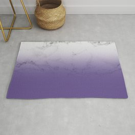 Modern white marble ultra violet purple ombre gradient Rug