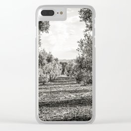 Olive trees in the countryside near the medieval white village of Ostuni Clear iPhone Case