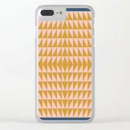 Geometric Triangle Pattern in Navy, Blush, and Gold Clear iPhone Case