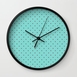Little Dots Red on Aqua Wall Clock