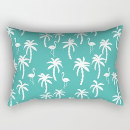 Tropical flamingo and palm trees pattern by andrea lauren cute illustration summer patterns turq Rectangular Pillow