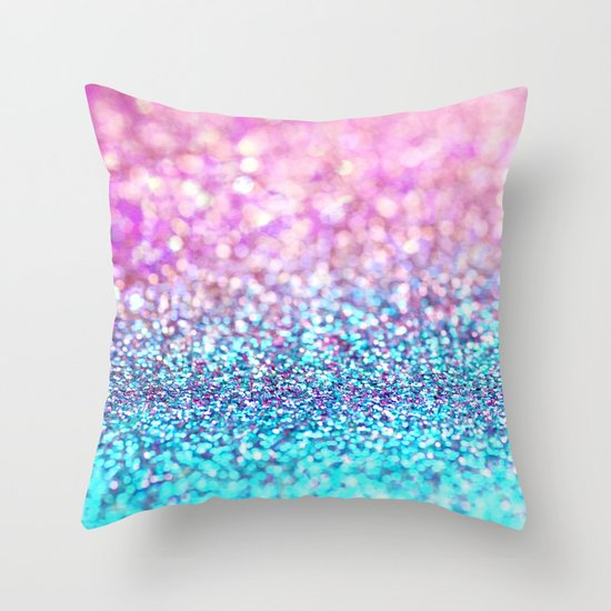 Pastel sparkle- photograph of pink and turquoise glitter Throw Pillow by Sylvia Cook Photography ...