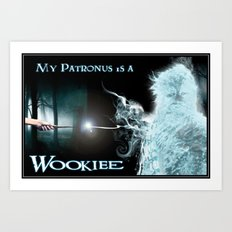 My Patronus is a Wookiee (with text) Art Print