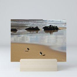 Sandpipers at the Beach Coastal Birds Sea Shore Mini Art Print