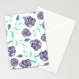 Purple Rose Bush Stationery Cards