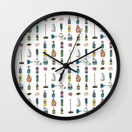 Tiny Cleaning Supplies Wall Clock