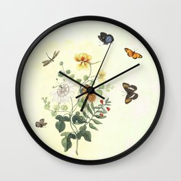 The return of Spring - butterflies and flowers Wall Clock