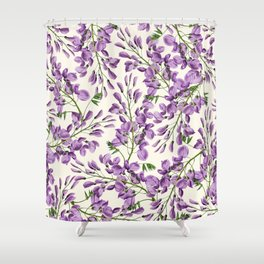Boho forest green lavender lilac wisteria floral pattern Shower Curtain