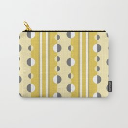 Circles and Stripes in Mustard Yellow and Gray Carry-All Pouch