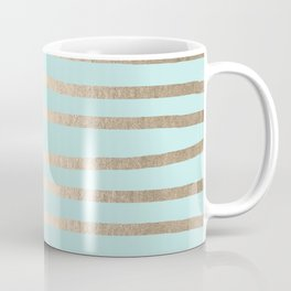Simply Drawn Stripes White Gold Sands on Succulent Blue Coffee Mug