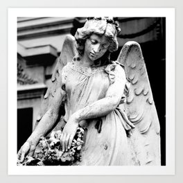Angel Statue Looking Down in Argentina Art Print