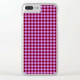 Lavender Violet and Burgundy Red Diamonds Clear iPhone Case