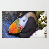 puffin Area & Throw Rugs featuring Tufted Puffin by Victoria's View