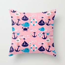 Summer boat pink Throw Pillow