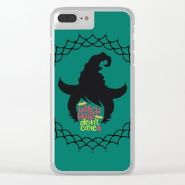 Witch Hair Don't Care-Teal Clear iPhone Case