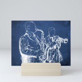 Jazz: Miles and Parker on stage handmade drawing Mini Art Print