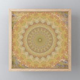 Topaz Gold Sun Marble Mandala Framed Mini Art Print