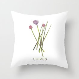 Watercolor Chives Illustration Throw Pillow