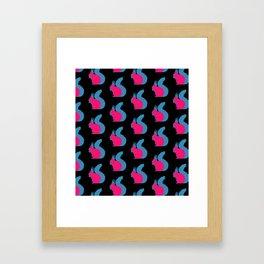 Pink Squirrels on Black Framed Art Print