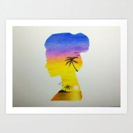 Sunset Girl Art Print