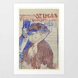 Ontwerp voor de afiche van de 19e jaarlijkse Tentoonstelling van Vereening St. Lukas in het Stedelij Art Print