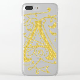 Gold Foil Letter A Clear iPhone Case