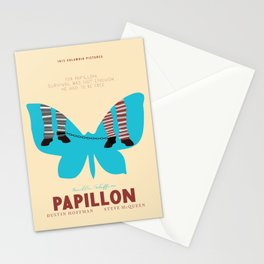 Papillon, Steve McQueen vintage movie poster, retrò playbill, Dustin Hoffman, hollywood film Stationery Cards