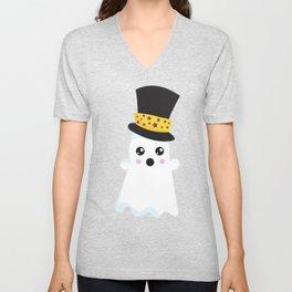 Cute Ghost, Ghost Wearing Hat, Halloween Unisex V-Neck
