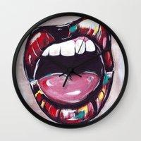 lip Wall Clocks featuring Lip Service by jreamer