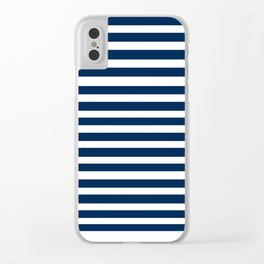 Navy-White ( Stripe Collection ) Clear iPhone Case