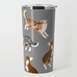 Australian Shepherd Pattern (Gray Background) Travel Mug